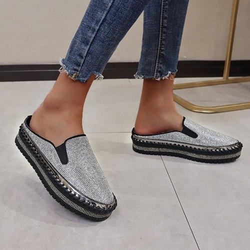 Women Flats Slip on Pattern Flat Woman Sneakers Casual Shoes