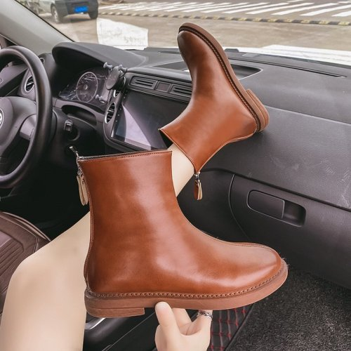Ankle Boots Women Booties Leather Fashion Shoes Female