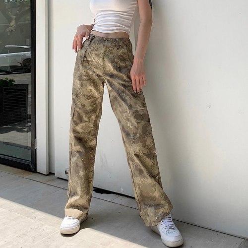 Pocket High Waist Pants Streetwear Women Trousers