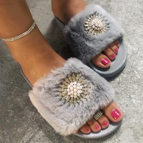 Women's Slipper Sandal With Faux Fur Shoe Womens Slippers Ladies' Shoes