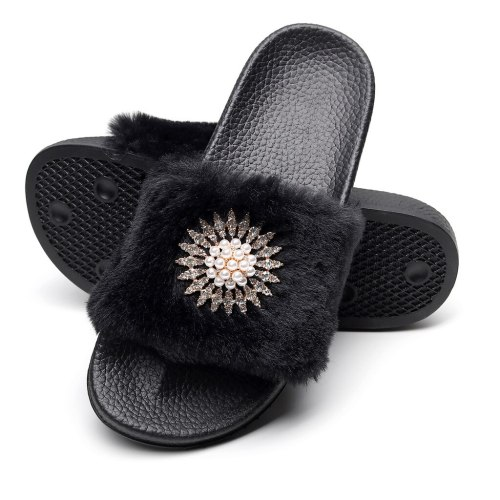 Women's Slipper Sandal With Faux Fur Shoe Womens Slippers Ladies' Shoes