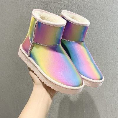 Snow Boots Woman Fashion Winter Ankle Boot Flat Rainbow