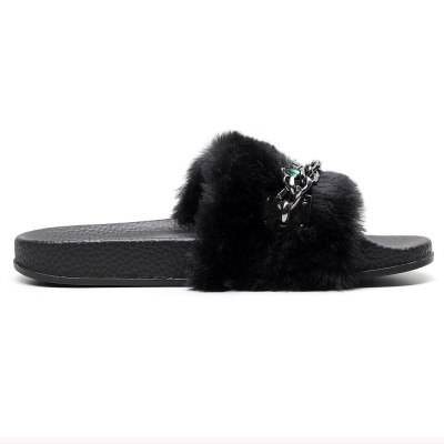 Women's Winter Slippers Flats Open Toe Shoe Casual Sandal With Faux Fur Slippers