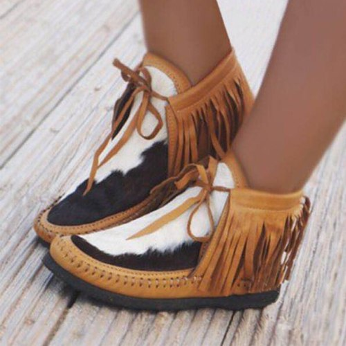 Women Tassel Ankle Boot Warm Short Boots Female Casual Shoes Woman Flats
