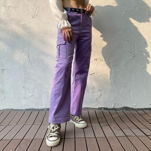 Patchwork Pants Women High Waist Streetwear Trousers Women Fashion