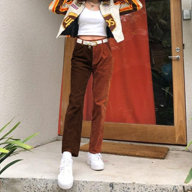 Vintage Women's Pants High Waisted Women Trousers Pants Retro Streetwear