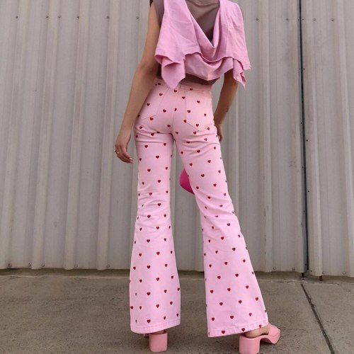 Vintage Women's Pants Streetwear High Waist Trousers Retro