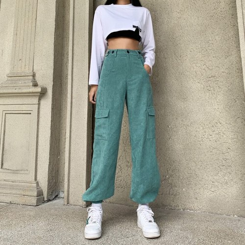 High Waist Pants Women Vintage Joggers Casual  Street Style