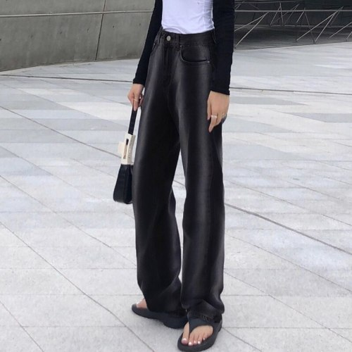Women Pants Fashion High Waisted Loose Denim Trousers Vintage Female Pants