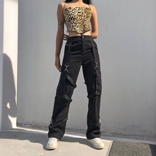 Pockets Streetwear Pants High Waist Fashion Trousers Women Pants