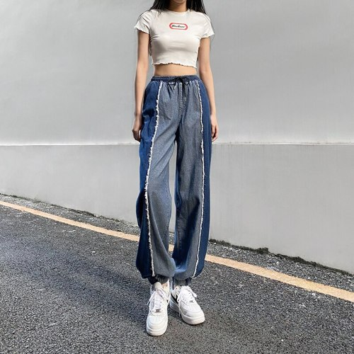 Streetwear Patchwork Jeans Woman Denim Pants High Waist Loose Jean