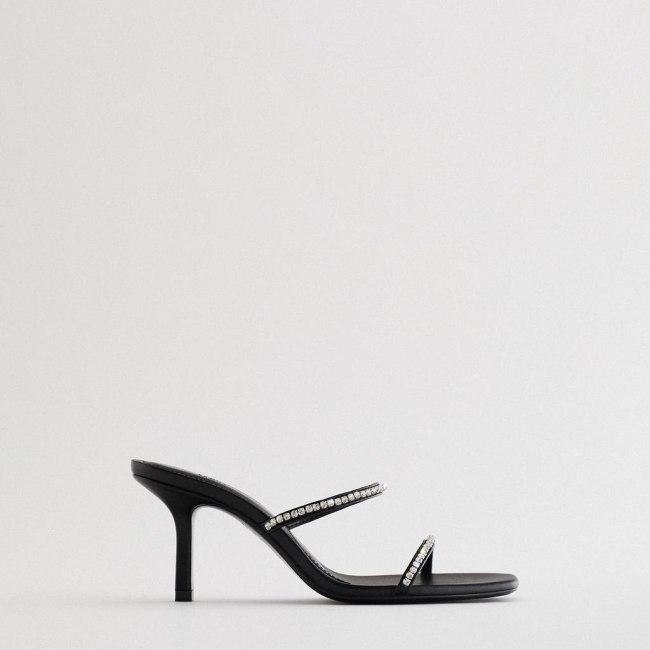 Women's Shoes Black Stiletto High Heel Sandals Female