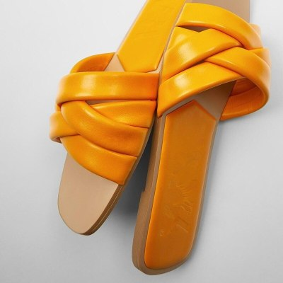 Women's Shoes Orange Strap Flat Leather Sandals