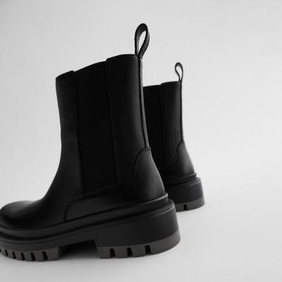 Women's Boots Shoes Black Leather PU Flat Boots for Women