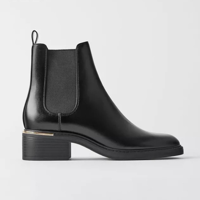 Black Boots Heels Ladies Round Toe Ankle Boots for Women Winter Shoes