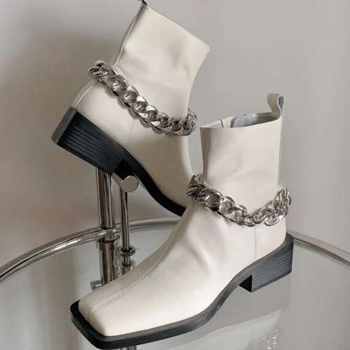 Women's Chain White Trendy Cool Heel Boots Fashion Platform Shoes