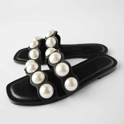 Women's Black Flat Leather Sandals Casual Shoes