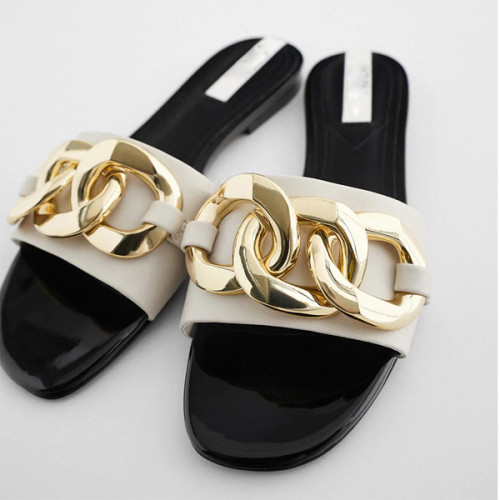 Women's Shoes Chain Decorated Flat Sandals Slippers Sandals