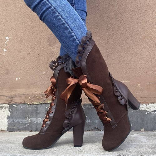 Women Mid Calf Boots PU Square Heel Fashion Shoes