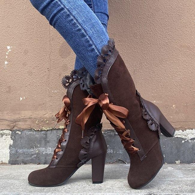 Women Mid Calf Boots PU Square Heel Fashion Shoes
