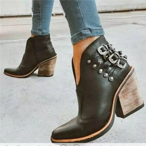 Women High Heel Ankle Female Fashion PU Leather Short Boots