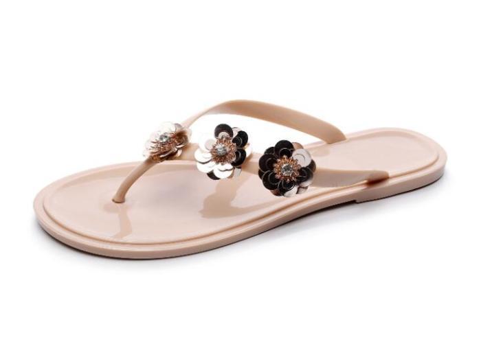 Fashion Flip Flops Flat Sequins Flowers Slippers Summer Shoes