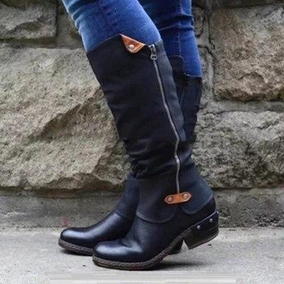 Women Vintage Square Heel Zipper Knee High Buckle Boot Warm Shoes