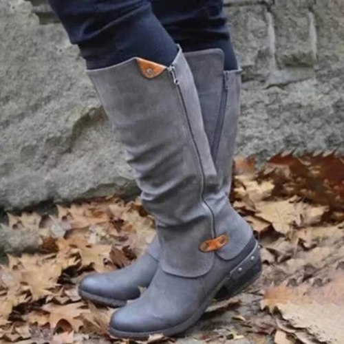 Women Vintage Square Heel Zipper Knee High Buckle Boot Warm Shoes