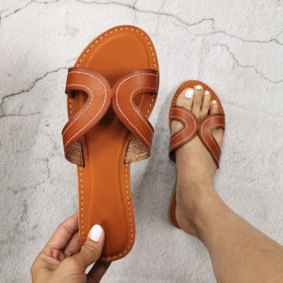 Woman Casual Beach Shoes Summer Fashion Flat Female Slippers Leather