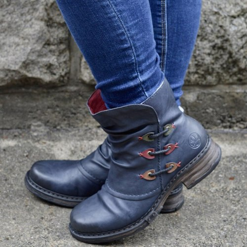Winter Vintage Martin Boots PU Leather Women Zipper Ankle Boots