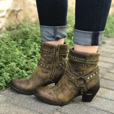 Women Martin Boots Retro PU Ankle Boots Low Heel Female Platform Shoes