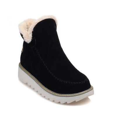 Women Snow Boots Round Toe Ankle Warm Snow Boots Shoes Flats