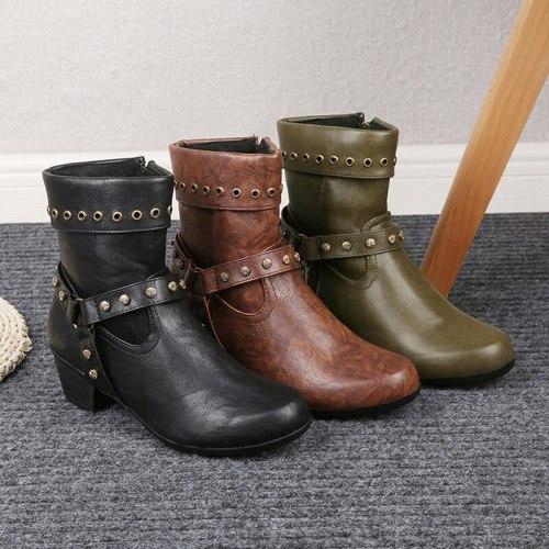 Women Martin Boots Retro PU Ankle Boots Low Heel Female Platform Shoes