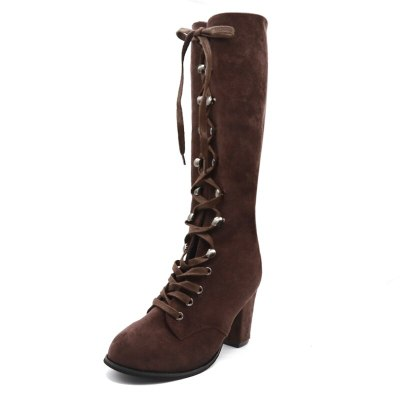 Ladies Boots Leather Mid Calf Fashion Heel