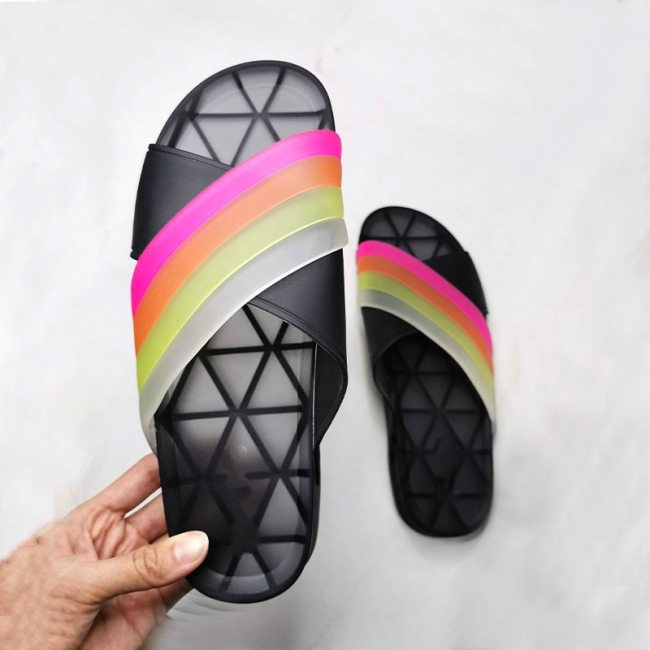 Slides Shoes Fashion Rainbow Flat Women's Slippers