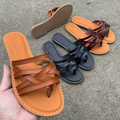 Leather Slides New Fashion Shoes Woman Ladies Retro Flat Slippers
