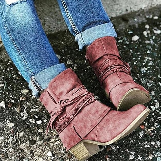Retro Ladies Martin Boots Mid Heel Patchwork Short Boots Zipper Ankle Boots