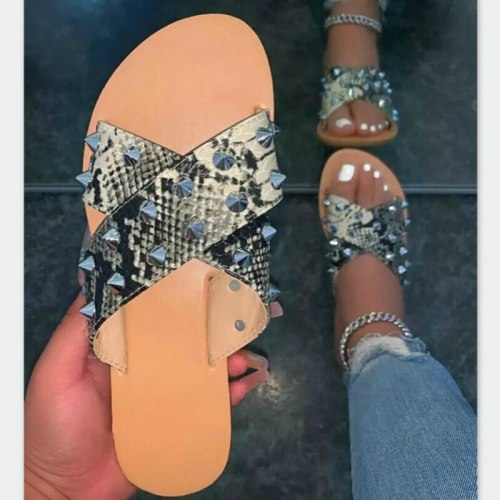 Female Slides Print Flat Non-slip Casual Women Slippers Fashion Outdoor