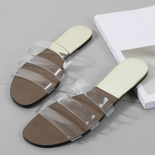 Flat Heel Shoes Slippers Outside Women Summer Leather Woman Slides