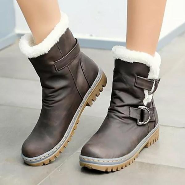 Fashion Winter Boots Women Flat Heels Warm Fur Boot For Women Shoes