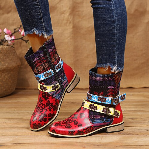 Ankle Boots Retro Heel Patchwork Buckle Female Shoes