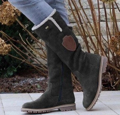 Soft Women Knee High Boots Fur Leather Knight Shoe Mid Heels Shoes