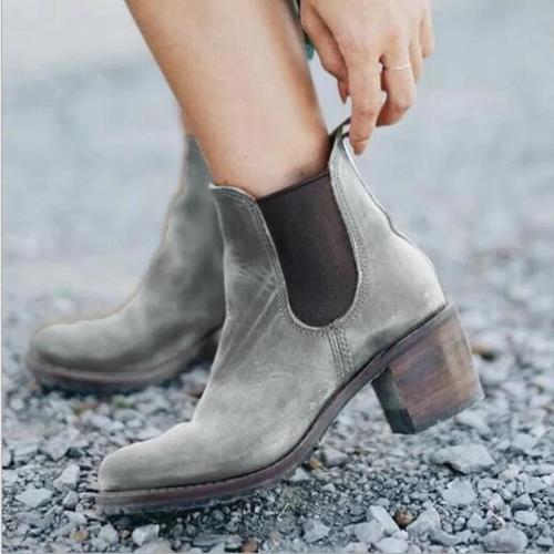 Women Ankle Boots High Heels Pumps Shoes Short Booties Warm Vintage PU