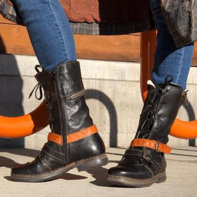 Women Mid-Calf Boots Low Heels Shoes Woman Booties Vintage PU Leather