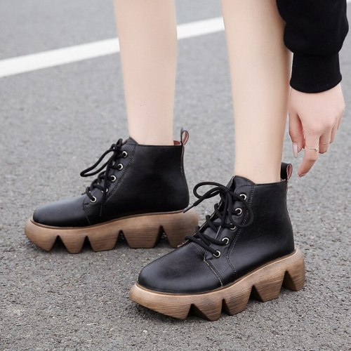 Women Mid Heels Plus Size Ankle Boots Vintage PU Leather