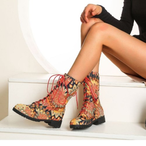 Women Ankle Boots Mid High Heels Matin Shoes