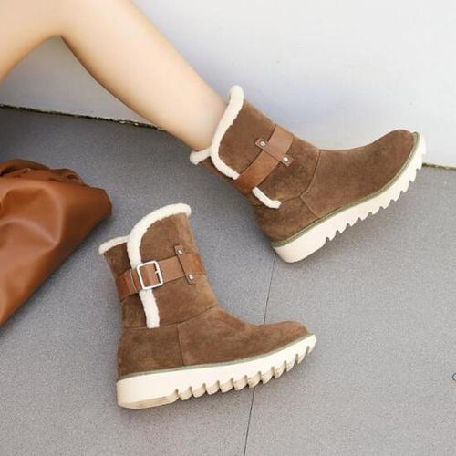 Women Mid-Calf Boots Heels Wedges Flatform Shoes Snow Warm