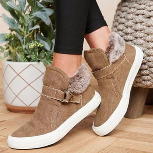 Women Ankle Boots Flat Shoes Vintage PU Leather Warm Shoe