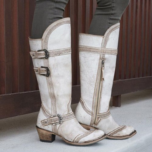 Women Knee High Boots Ladies Mid Heels Warm vintage PU Shoes
