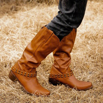 Women Knee High Boots Vintage PU Leather Shoes